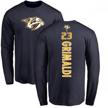 Men's Rocco Grimaldi Nashville Predators Backer Long Sleeve T-Shirt - Navy