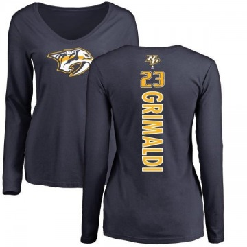 Women's Rocco Grimaldi Nashville Predators Backer Long Sleeve T-Shirt - Navy
